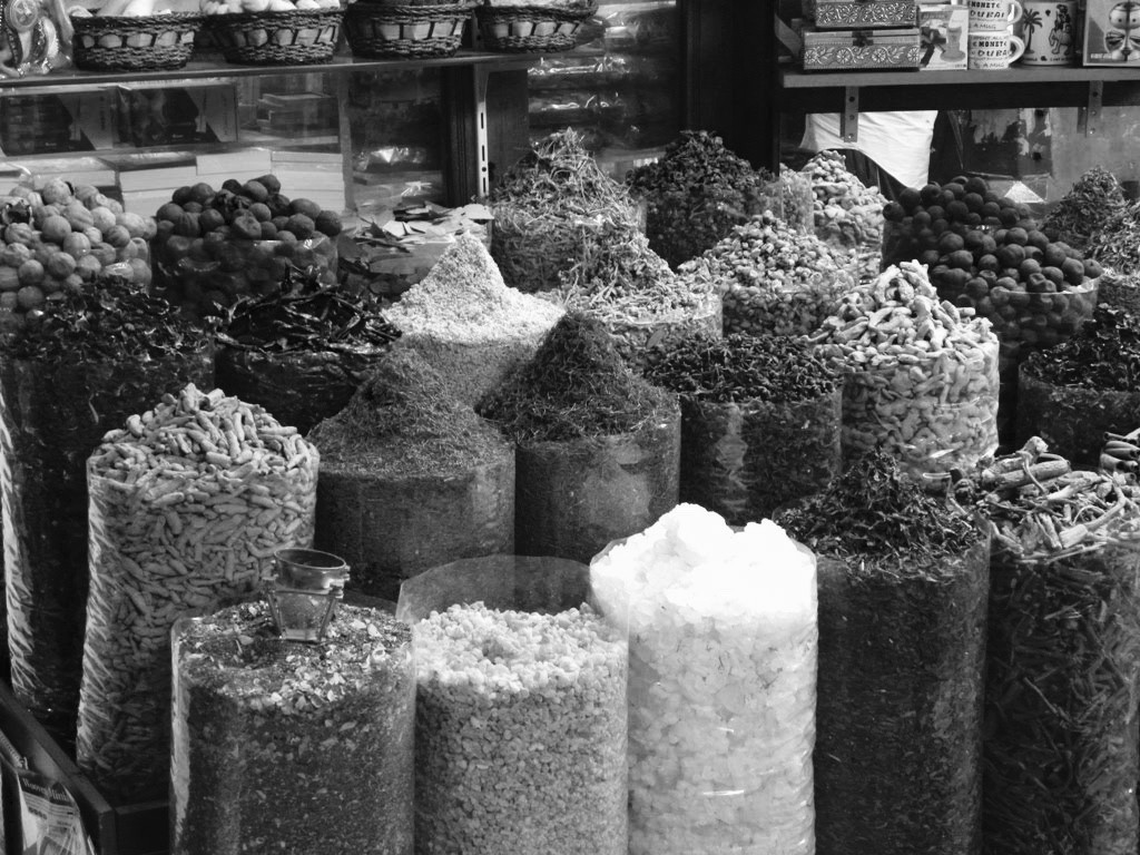 Dates, spices, and other commodities at Armenian quarter in Old City of Jerusalem