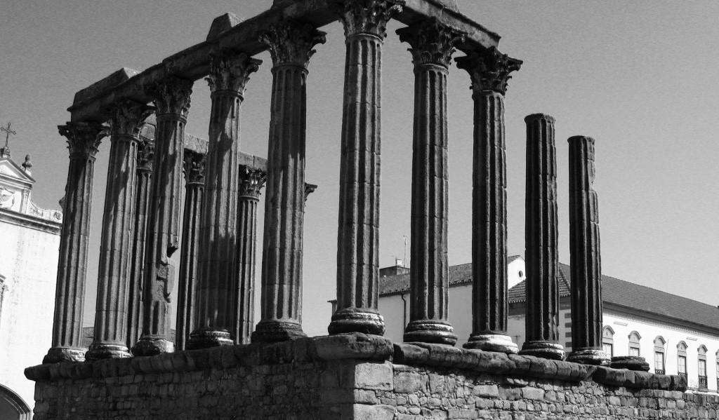 The Roman Temple of Évora constructed around the first century AD in Évora along with remains of city walls and a significant aqueduct.