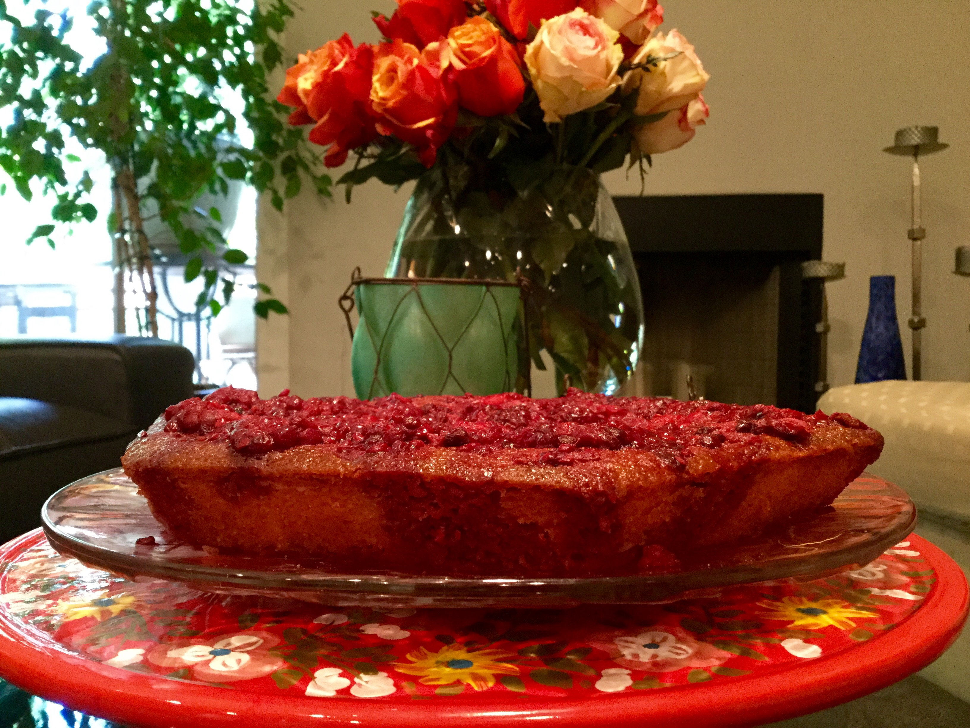 My mom Cristiana Maria made my favorite: lemon cake with fresh raspberries dripping on the sides. Lemons and berries from my parents' home.