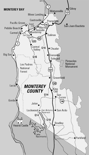 Map of Monterey County. Source: http://www.stylegourmet.com/wine/art012.htm