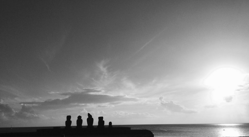 Moai - head statues - all around Isla de Pascua (Easter Island).