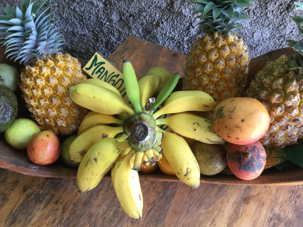 Fruits at a small open cafe at the bottom Ahu a Kivi, a national park. The first restoration of the Moai of Easter Island into their upright positions was a project started in 1960