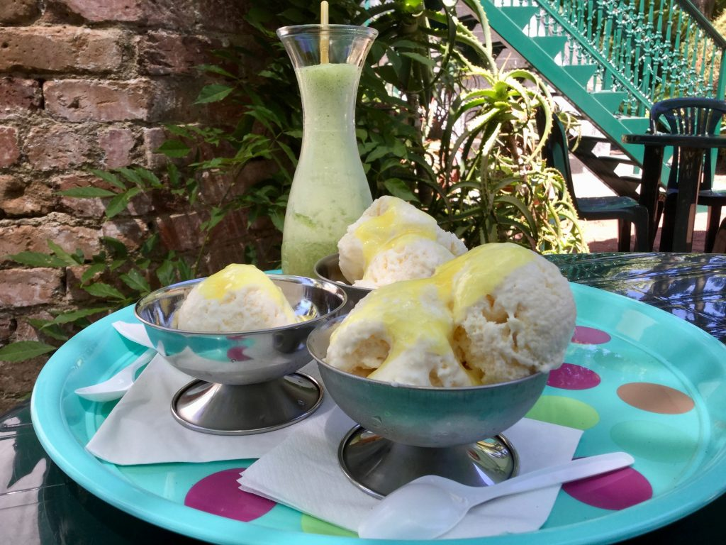 Pineapple ice cream and a pineapple-infused drink.